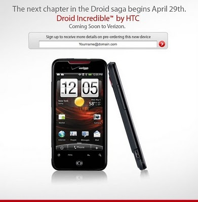 HTC Droid Incredible Spotted at Verizon Staging Website