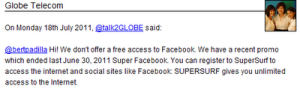 Bummer! Globe Telecom Don't Offer Free Access to Facebook through Mobile App for Java