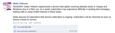 Globe Telecom Advisory: Calls, SMS, and Internet Services – Interrupted
