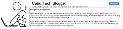 Oh Heck, CTB is Suspended in Google Plus! Google+ Doesn't Allow to Use Your Brand in Profiles