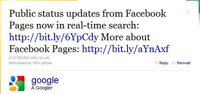 Facebook Fan Page on Google Real-time Search