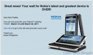 Philippines, Nokia E7 Pre-Order Starts Today!
