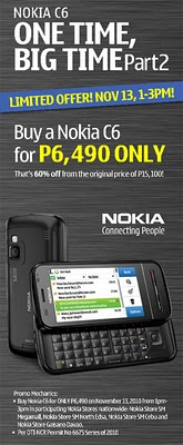 Nokia C6 Sale on November 13, 60% Off