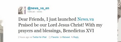 The Pope Tweeted Using an iPad to launch the Vatican News Portal