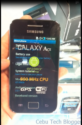 Samsung Galaxy Ace is here in Cebu, Check out Hands-on Video