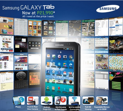Samsung Philippines SRP for Galaxy Tab Drops to Php 21,990
