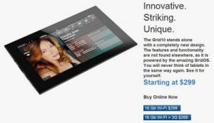 Fusion Garage 10-inch Grid OS Tablet Price Update