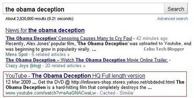 The Obama Deception YouTube Video Censored