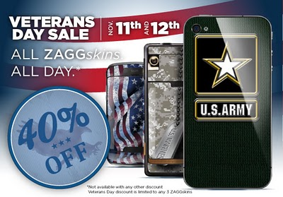 Veteran's Day Sale – 40% Discount of ZAGGskins for Your Gadget