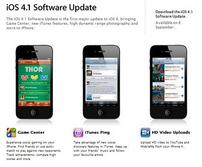 iOS 4.1 Sofware Update on Sept. 8; iOS 4.1 for iPod Touch Available for Download