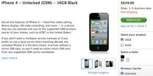 Unlocked GSM iPhone 4, Now Available in US Apple Online Store