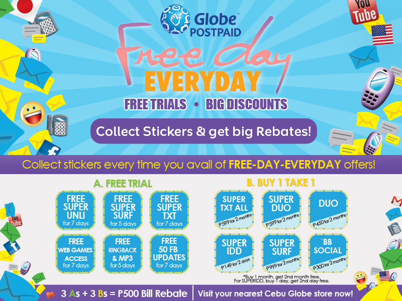 Globe Telecom's Free Day Everyday Promo Offers Cebu Subscribers Free Trials and Big Discounts on Unli-Booster Products
