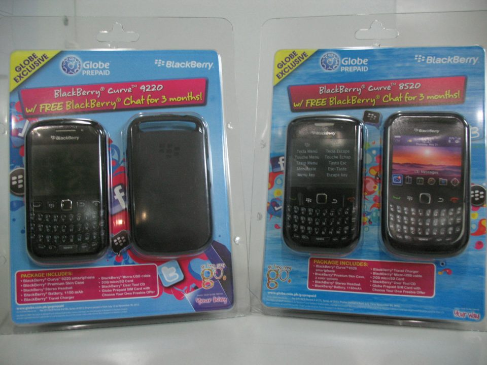 BlackBerry Curve 9220 & Curve 8520 Now Available in Globe Prepaid Kits