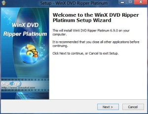 WinX DVD Ripper Platinum Installation UI