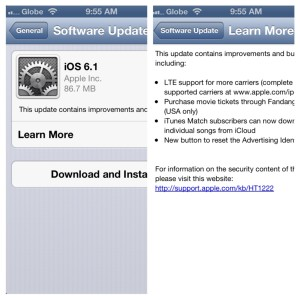 iOS 6.1 Brings LTE Support to Globe and Smart iUsers; Available Now for Download