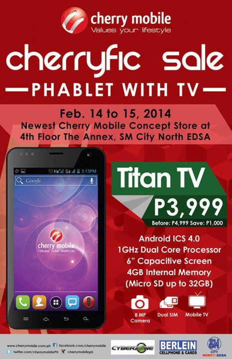 Cherry Mobile Cherryfic Sale on February 14 to 15! Titan TV Phablet gets Php1,000 Price cut at SM North Edsa
