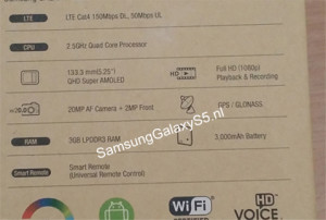 Samsung Galaxy S5's Box Lists Specs: 2.5GHz Quad Core CPU, 5.25-inch qHD Screen, 3 GB RAM, Cat4 LTE