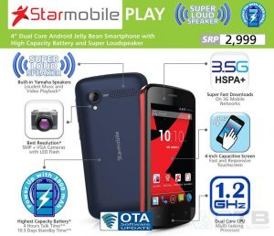 Starmobile Play, Dual Core Android Jelly Bean Smartphone for Just Php 2,999